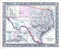 Texas, World Atlas 1864 Mitchells New General Atlas